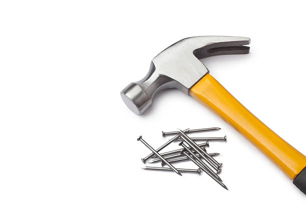 Hammer and nails Hammer and nails isolated on white background hammer stock pictures, royalty-free photos & images