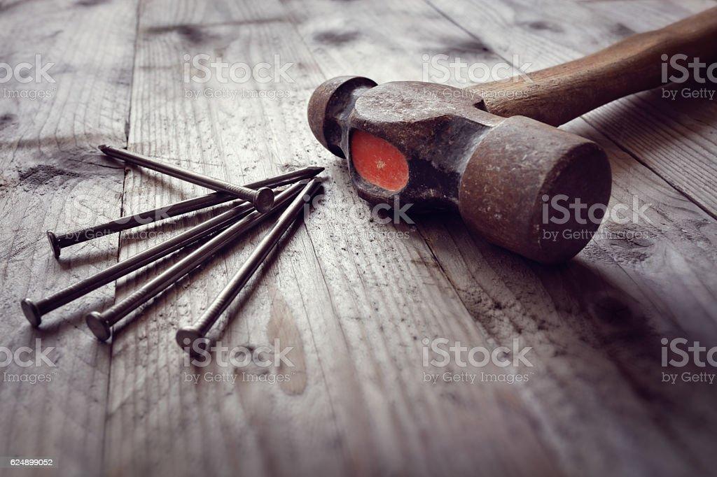 Hammer and nails royalty-free stock photo