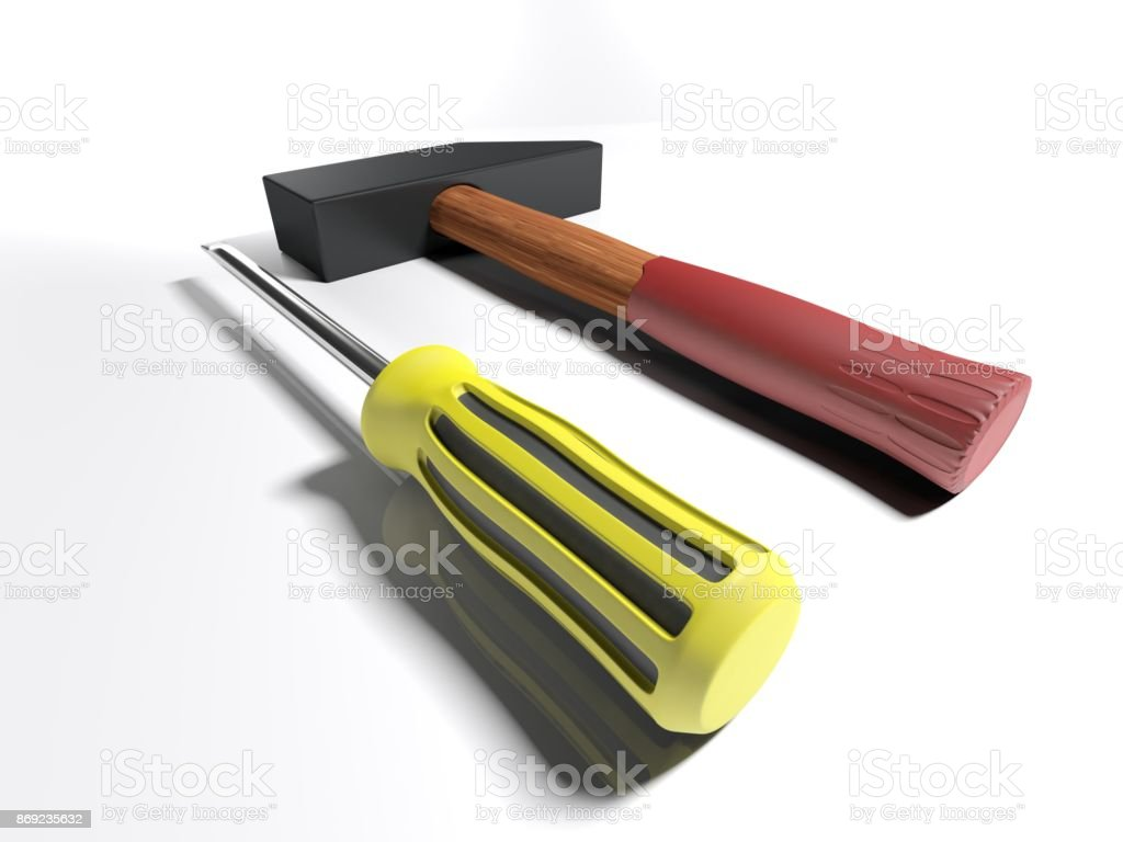 Hammer and screwdriver - 3D rendering stock photo