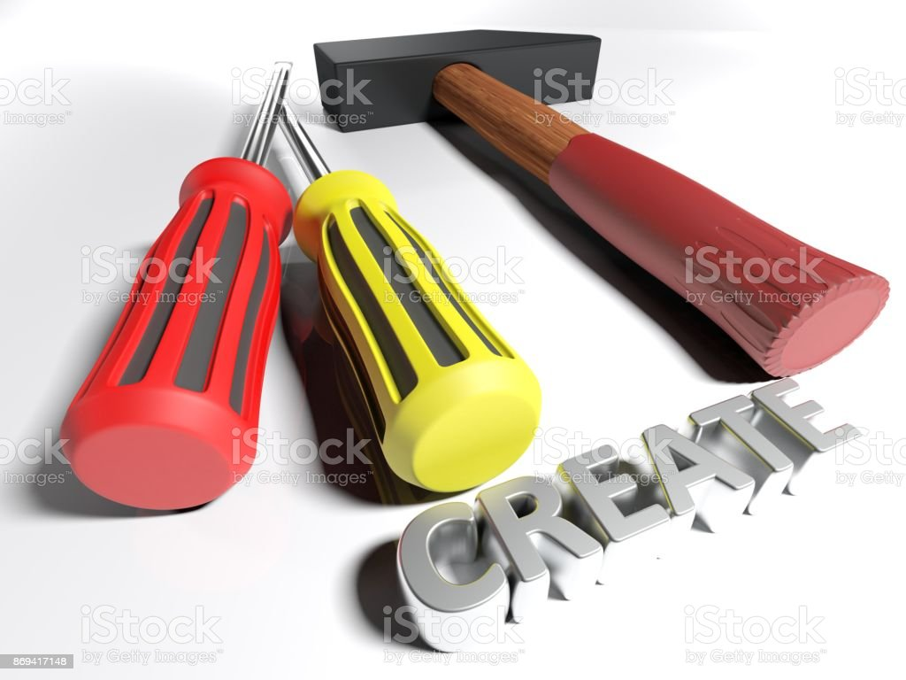 Hammer and screwdriver for Creating - 3D rendering stock photo