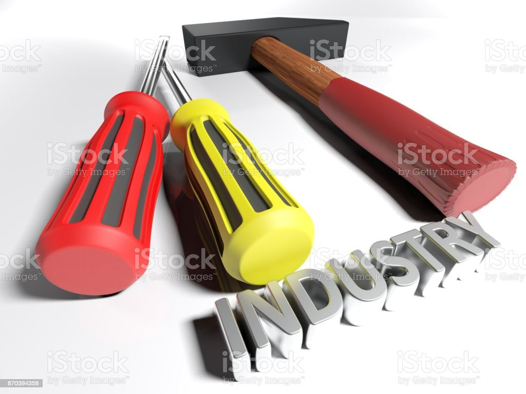 Hammer and screwdriver for Industry - 3D rendering stock photo
