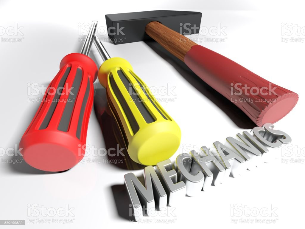 Hammer and screwdriver for Mechanics - 3D rendering stock photo