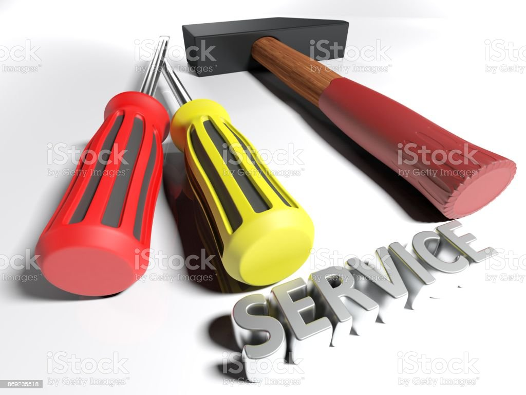 Hammer and screwdriver for Service - 3D rendering stock photo