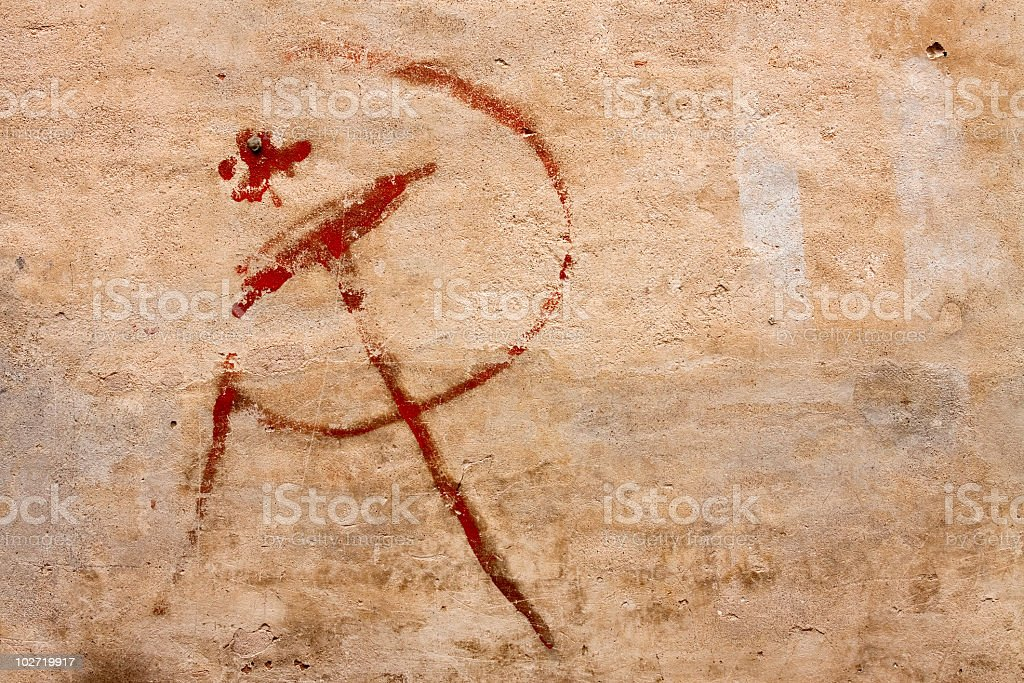 Hammer and sickle graffiti royalty-free stock photo