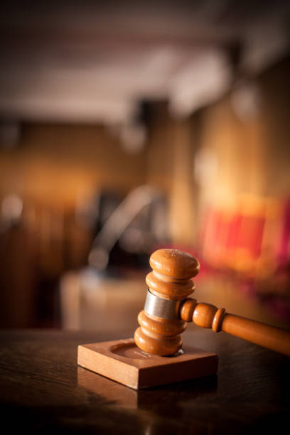 Hammer in a courtroom stock photo