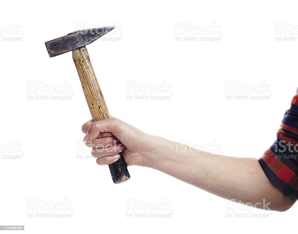 Hammer in hand royalty-free stock photo