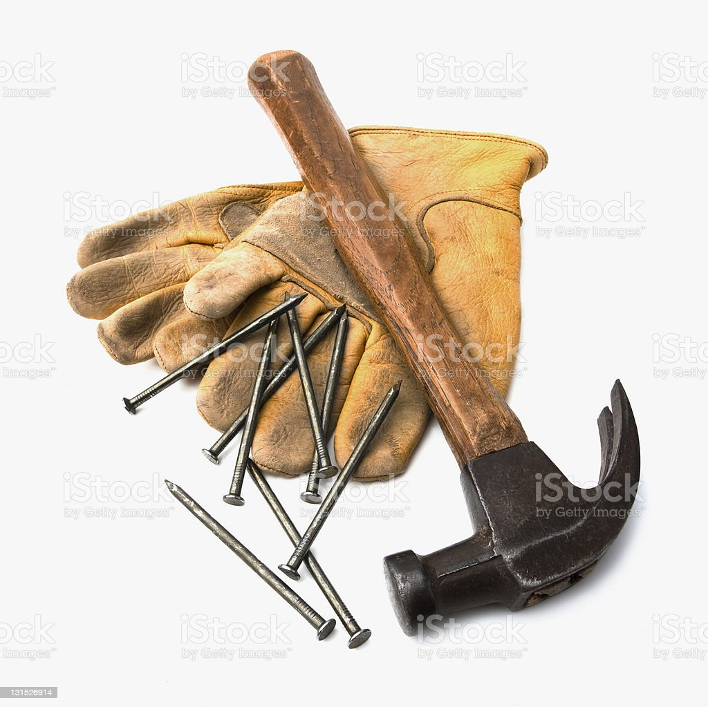 Hammer, Nails, and Gloves royalty-free stock photo