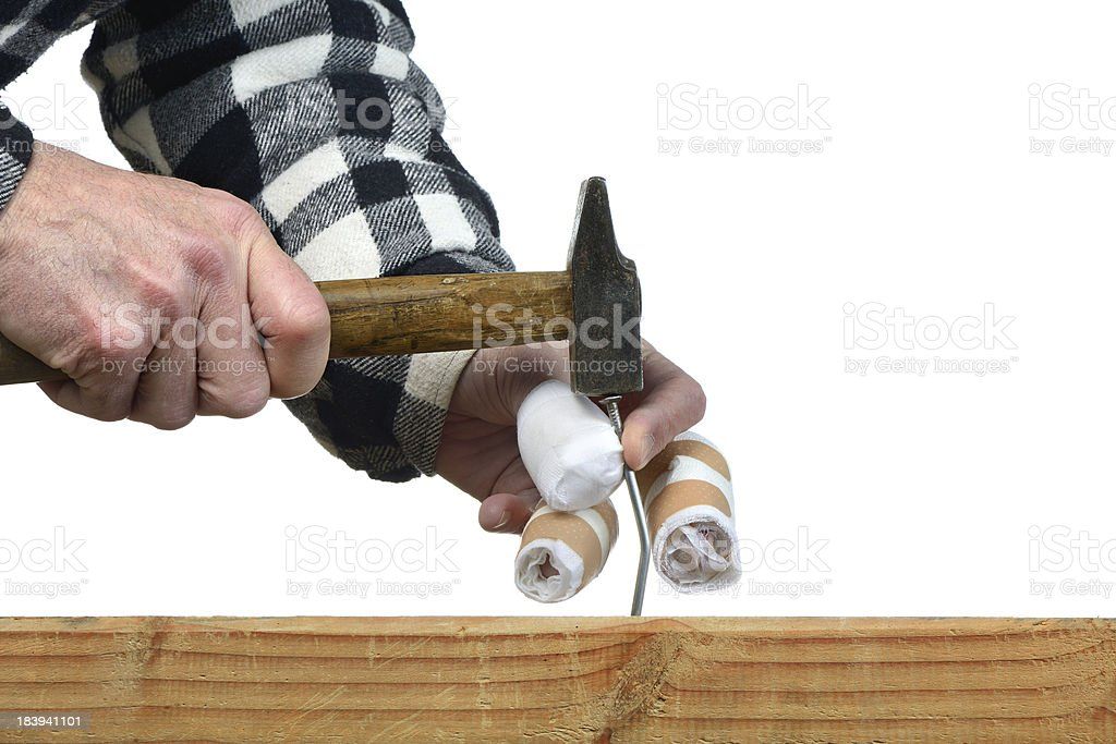 hammer nails four stock photo