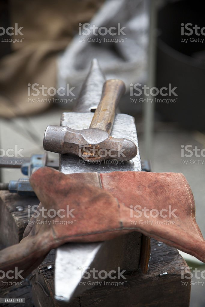 Hammer on anvil royalty-free stock photo