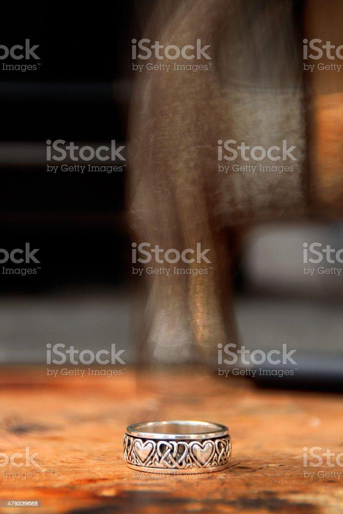 Hammer Strikes Ring stock photo