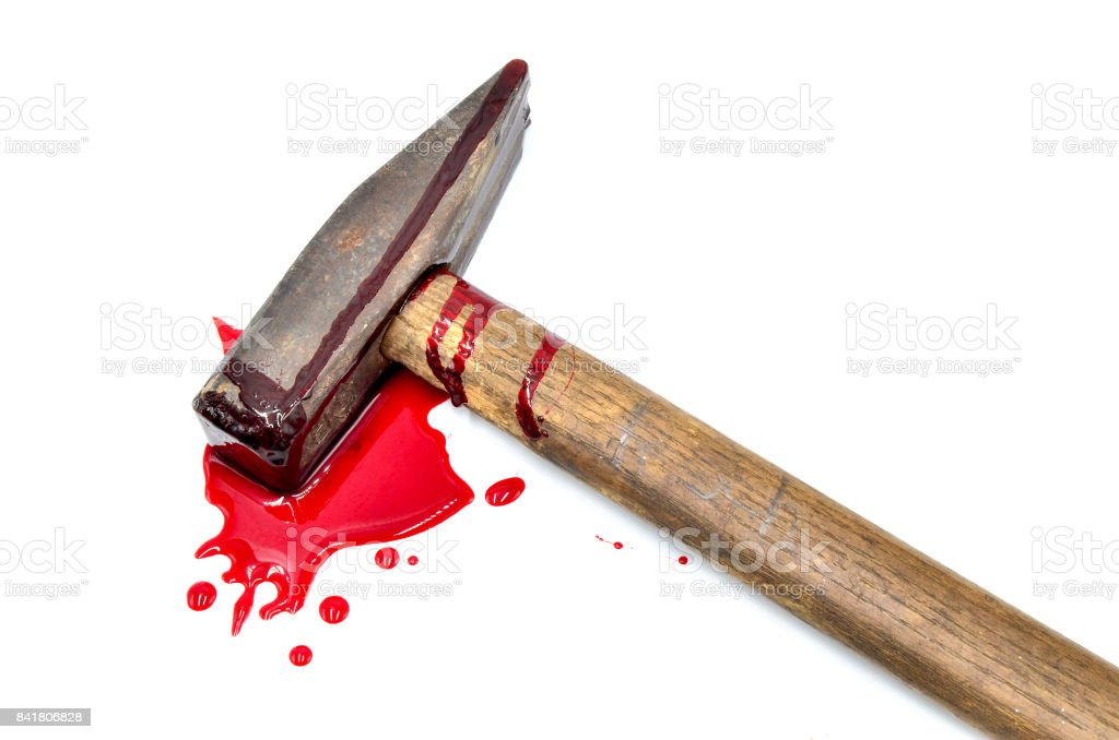 hammer with blood on white background stock photo