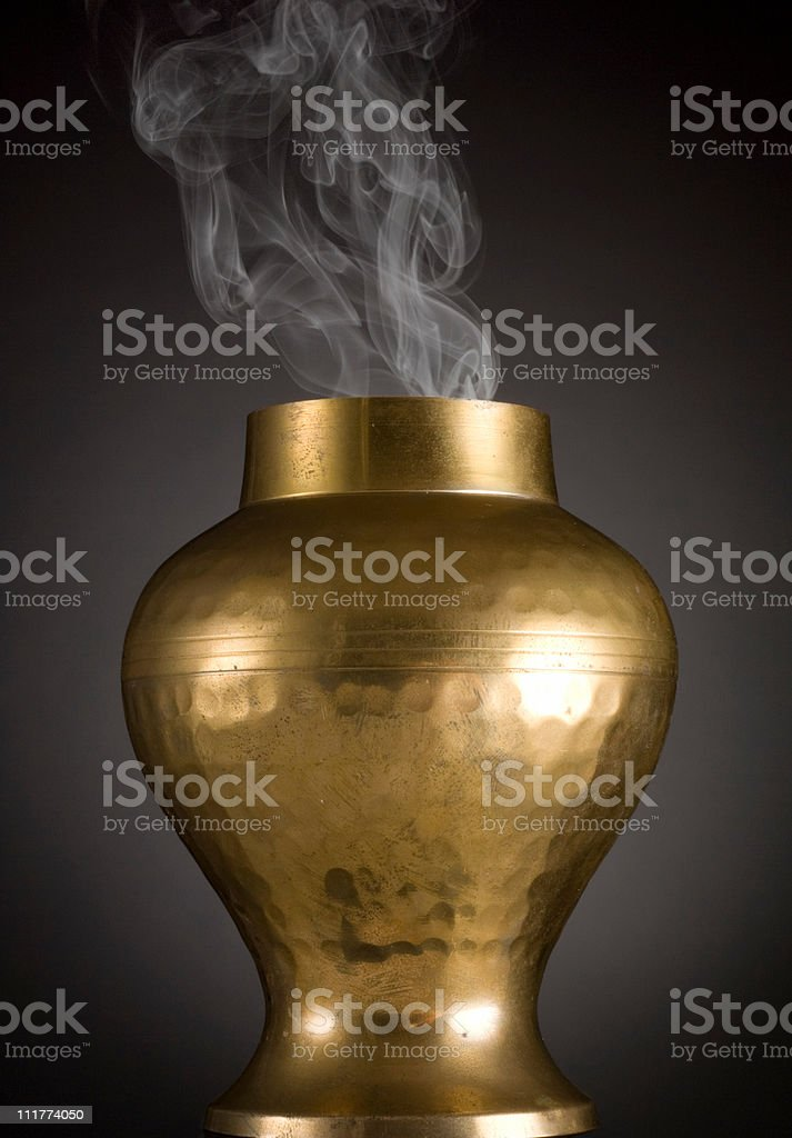 Hammered Brass Vase with Smoke stock photo