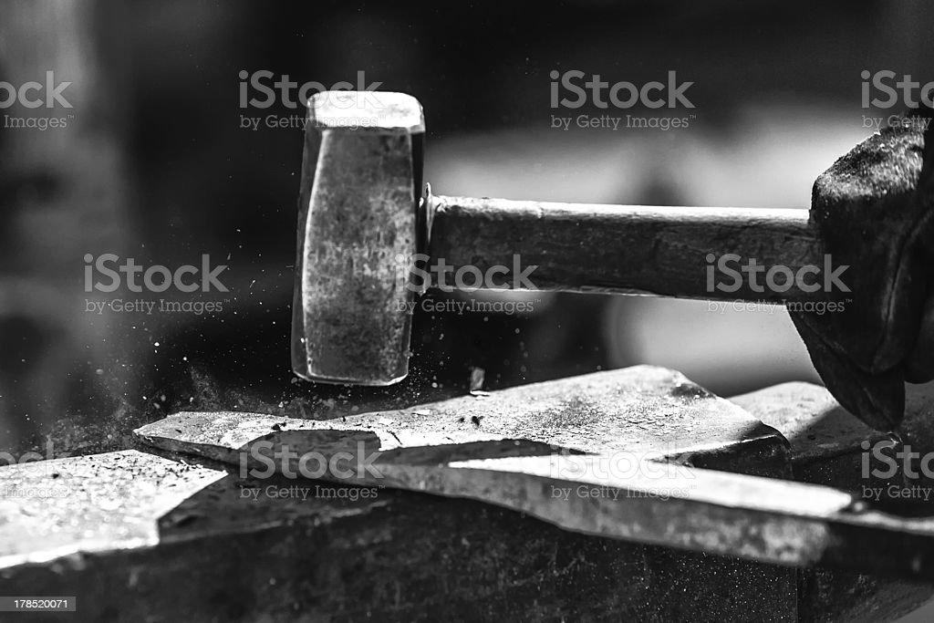 Hammered! stock photo