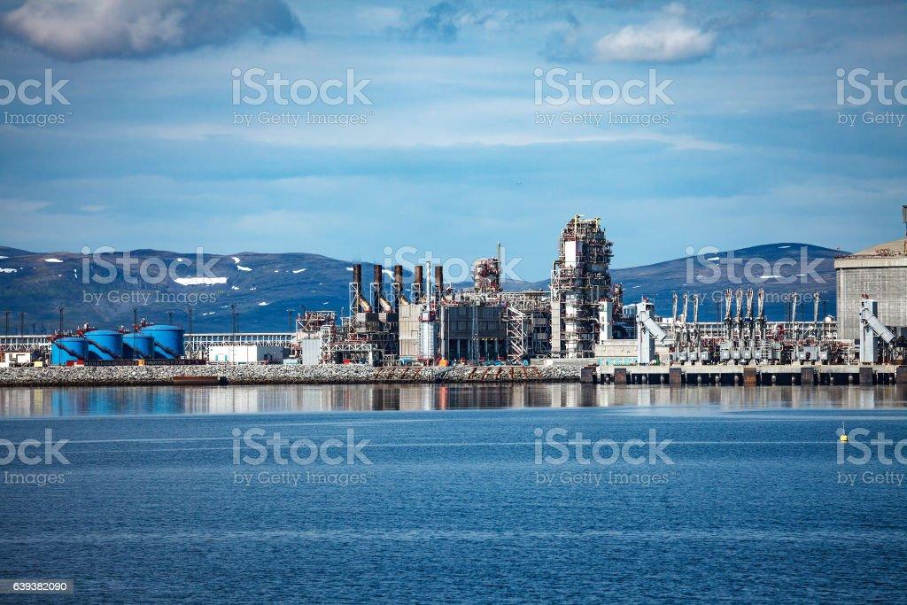 Hammerfest Island Muolkkut Northern Norway, gas processing plant stock photo
