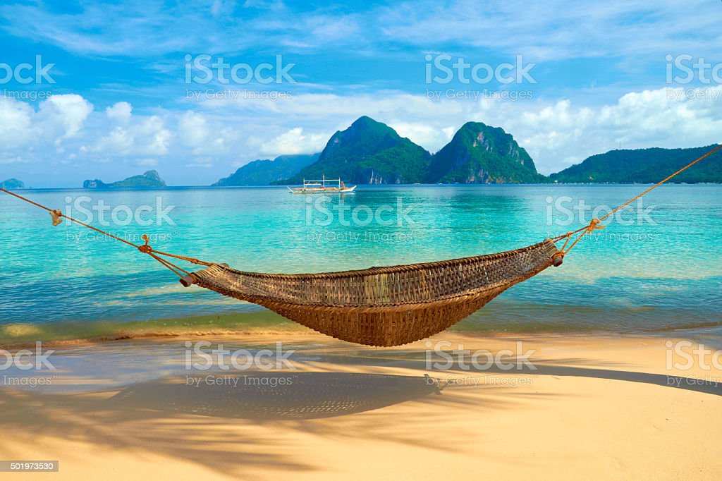 Hammock at the Beach stock photo