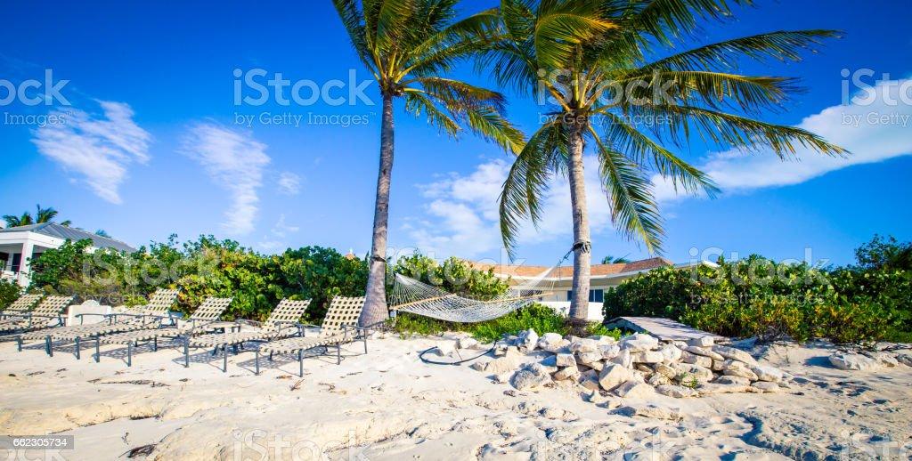 hammock beach in Caribbean stock photo