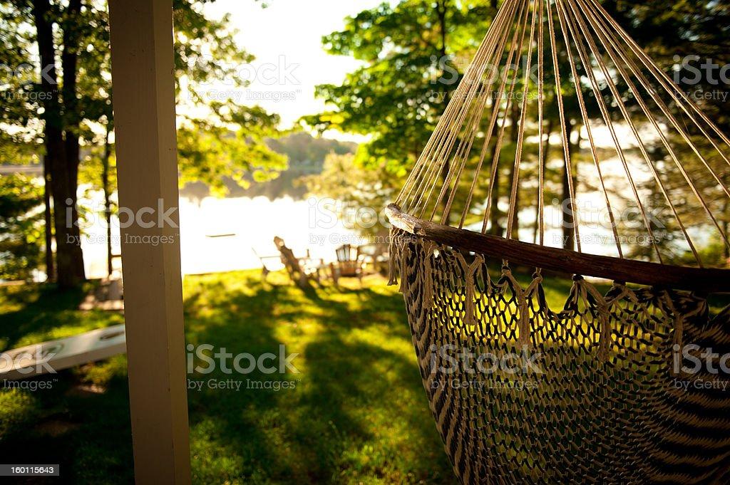 Hammock by the lake stock photo