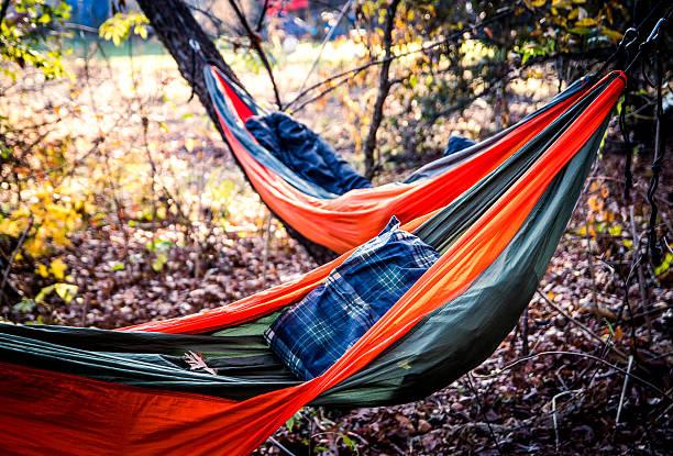 Hammock camping stock photo