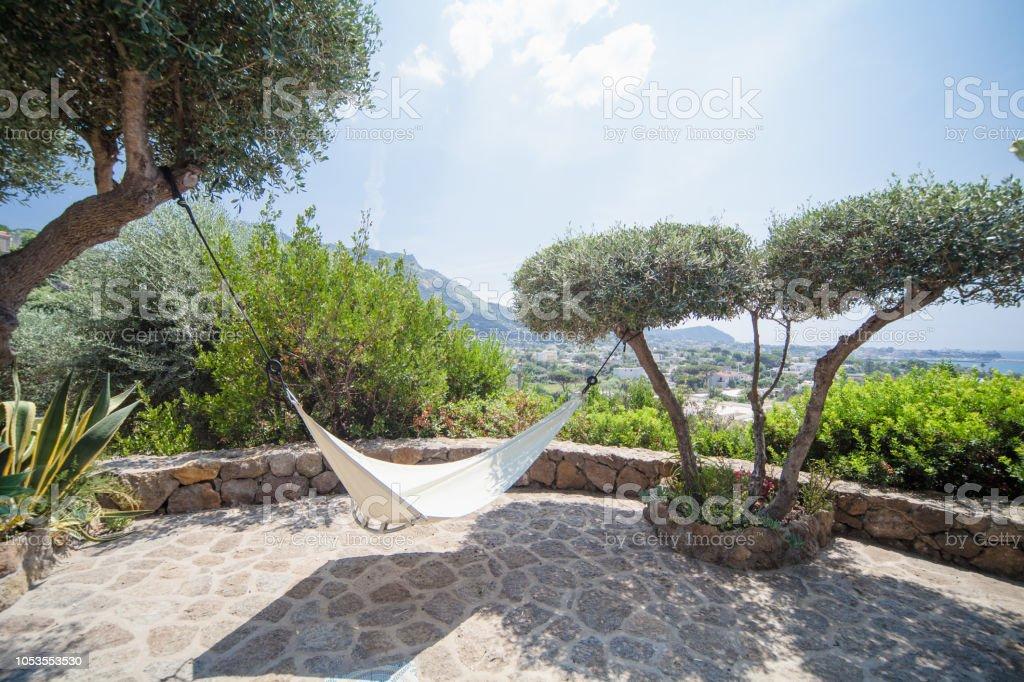 Hammock in a Mediterranean Garden with Seascape