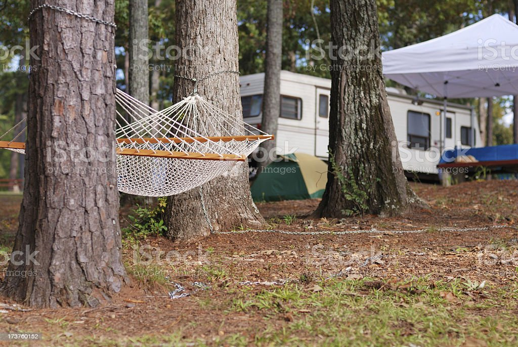 Hammock in Campground royalty-free stock photo