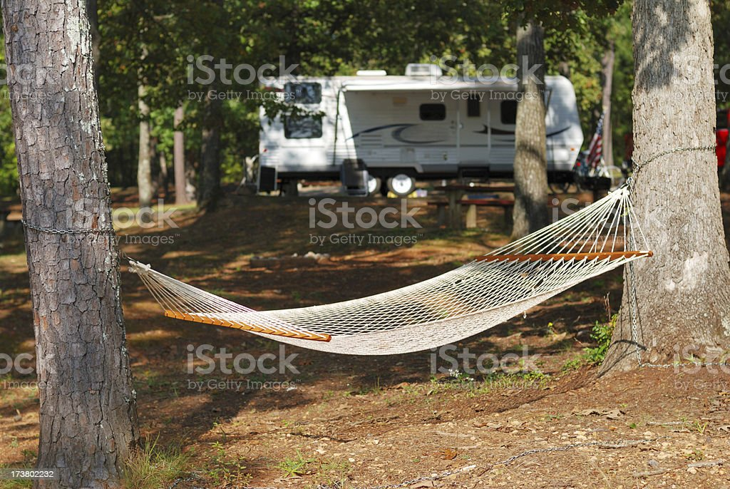 Hammock in Campground stock photo
