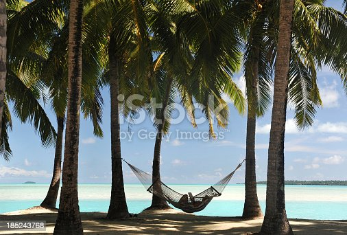 A shaded hammock with reclining figure in silhouette (identity disguised) beneath palm trees in the South Pacific
