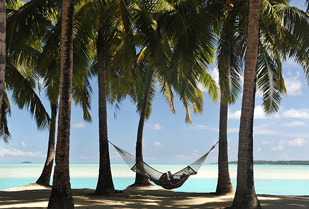 Hammock in Paradise A shaded hammock with reclining figure in silhouette (identity disguised) beneath palm trees in the South Pacific south pacific ocean stock pictures, royalty-free photos & images