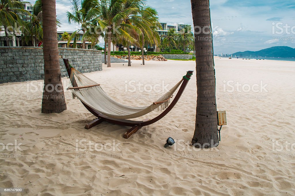 Hammock in the My Khe beach, Danang, Vietnam stock photo