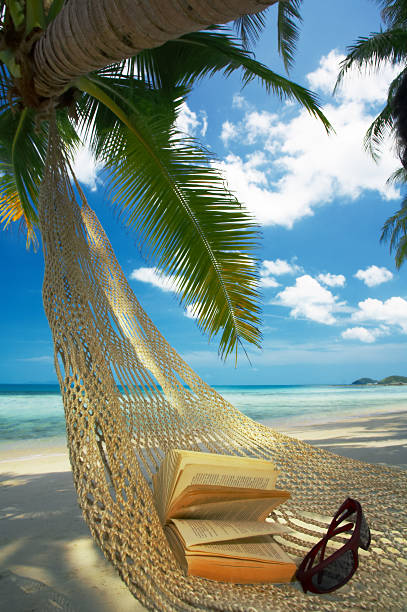hammock on a beach with a book and sunglasses - dawdle stock pictures, royalty-free photos & images