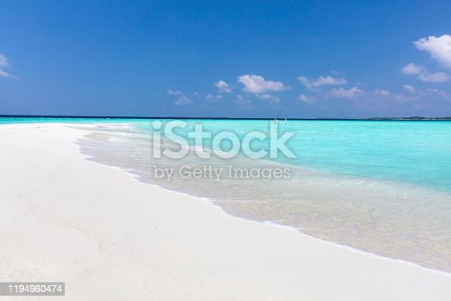 Hammock on amazing white sandbar in pristine tropical waters on a sunny day