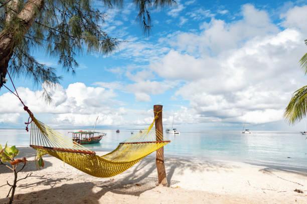 Hängematte am idyllischen Strand von zanzibar – Foto