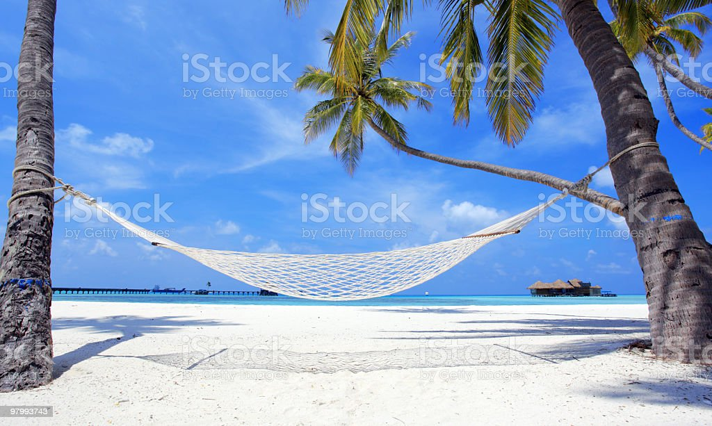 Hammock on the beach. royalty-free stock photo
