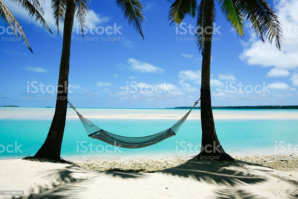 Hammock strung between two palms. royalty-free stock photo