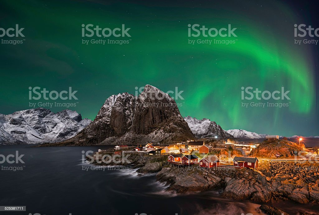 Hamnoy nothern lights stock photo