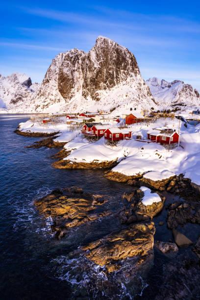 Hamnoy Dorf in den Wintermonaten, Lofoten Inseln, Norwegen – Foto