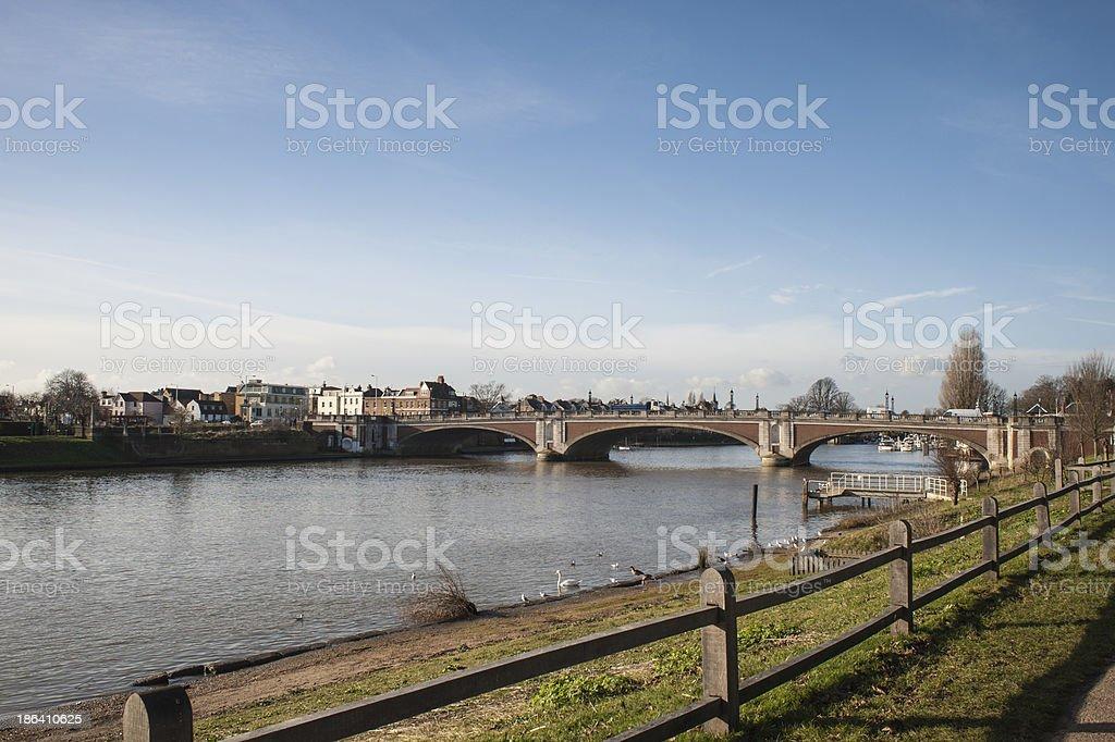 Hampton Court Bridge over the River Thames, Surrey, England stock photo