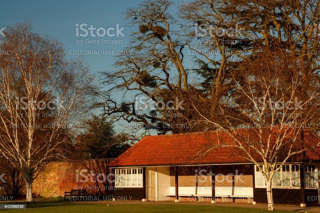 Hampton Court Palace grounds stock photo