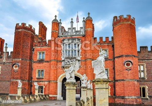 London, UK - April 2019: Hampton Court Palace in Richmond