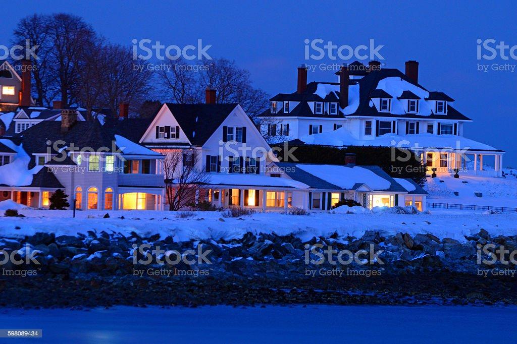 Hampton New Hampshire at Dusk in Winter stock photo