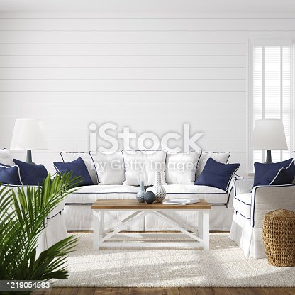 Hampton style living room interior, wall mockup, 3d render