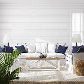 istock Hampton style living room interior, wall mockup 1219054593