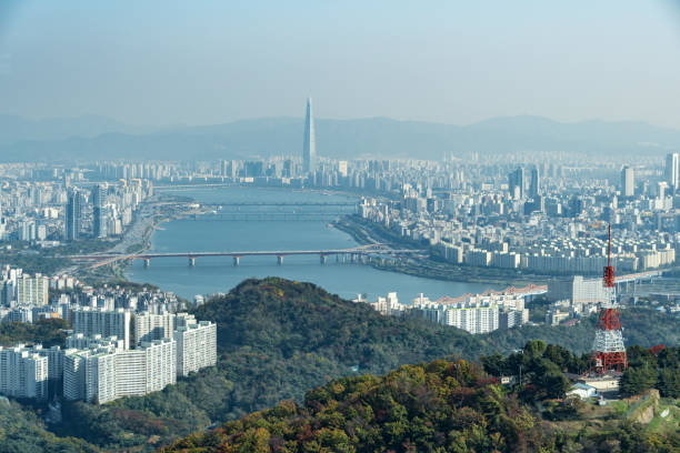 Han River and Aerial view over city of Seoul, South Korea stock photo