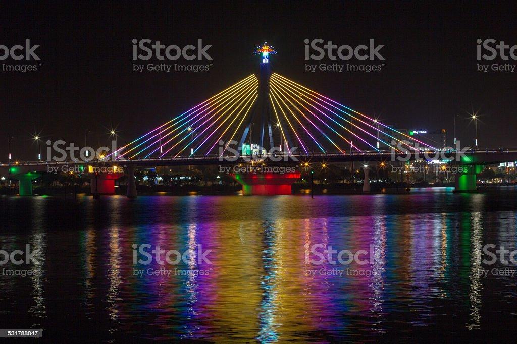 Han River Bridge in Danang, Vietnam. stock photo