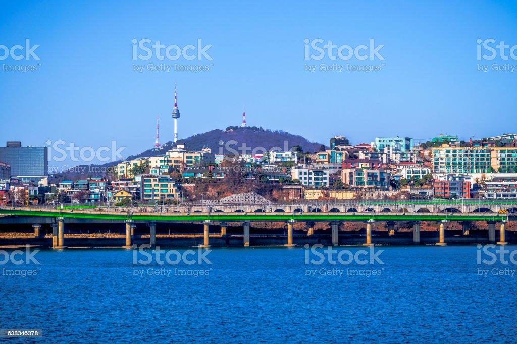 Han river hangang seoul tower south korea stock photo