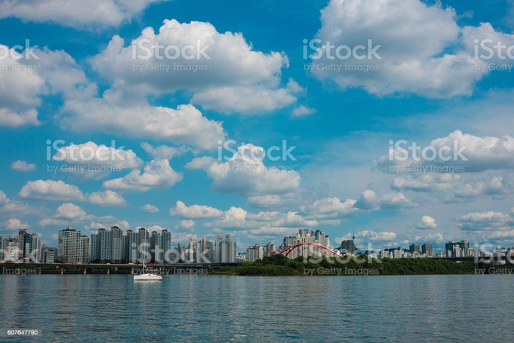 han river seoul marina stock photo
