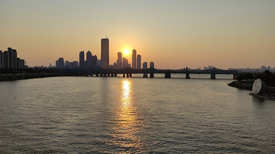Han River where the sunset