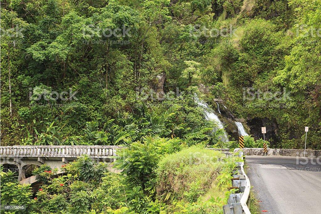 Hana Highway and Upper Waikani Falls, Maui, Hawaii royalty-free stock photo