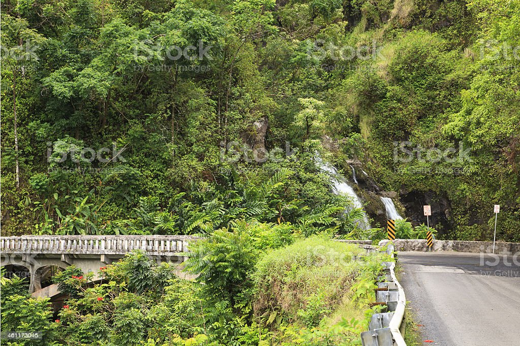 Hana Highway and Upper Waikani Falls, Maui, Hawaii stock photo