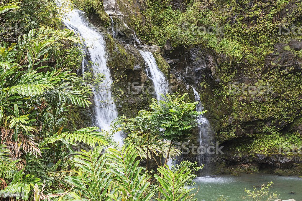 Hana Highway Waterfall royalty-free stock photo