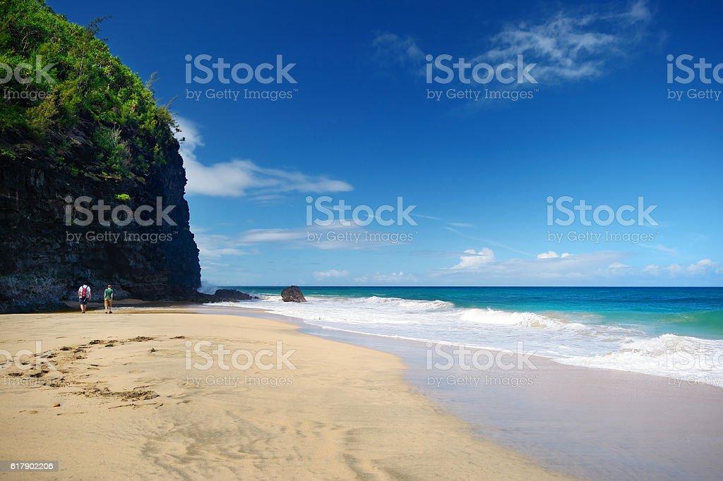 Hanakapiai beach of Kalalau trail stock photo